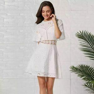 🆕 White Eyelet Flower Cutout Mini Dress